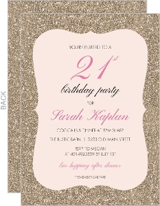Glitter And Pink 21st Birthday Invitation
