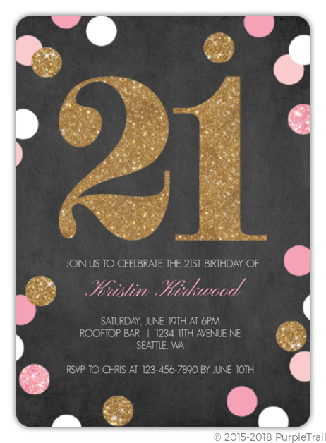 Sparkling Pink And Gold 21st Birthday Invitation