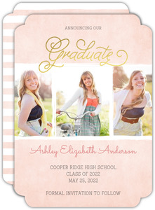 Faux Gold Foil Pink Watercolor Graduation Save The Date Announcement