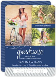 Blue Whimsical Heart Stripes Graduation Save The Date Announcement