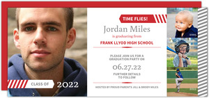 Red Gray Stripe Timeline Graduation Save The Date Announcement