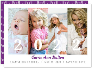 Purple Graduation Save The Date Announcement
