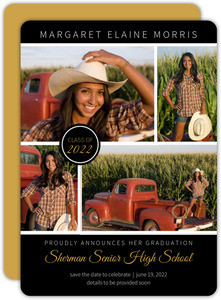 Black Multi Photo Graduation Save The Date Announcements