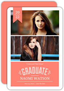 Coral Banner Graduation Save The Date Announcement