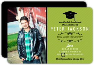 Green Grad Calendar Save The Date Announcement