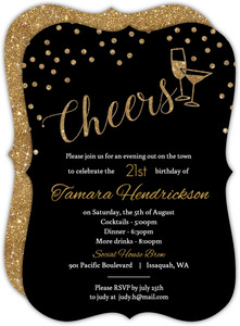 Faux Gold Glitter Cheers Glitter 21st Birthday Invitation