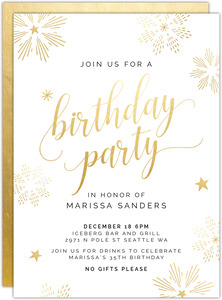 Faux Gold Snowflakes Modern Birthday Party Invitation