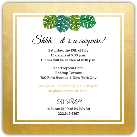 Elegant Tropical Surprise 30th Birthday Invitation