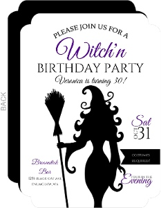 Elegant Witch Birthday Party Invitation