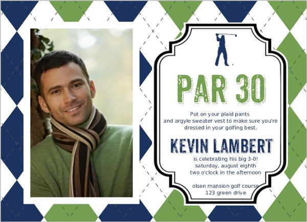 Argyle sweater golf birthday party invitation 30th birthday argyle sweater golf birthday party invitation filmwisefo