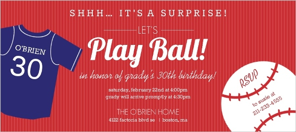 baseball themed surprise birthday party invitation 30th birthday