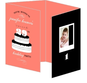 Coral Black And White Cake 30Th Birthday Invitation