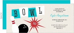 Red And Blue Bowling 30Th Birthday Invitation