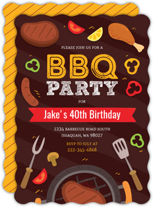 Fun Grilling BBQ 40th Birthday Party Invitation