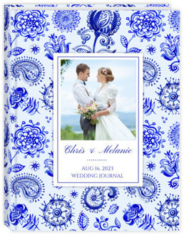 Royal Blue Watercolor Pattern Wedding Journal