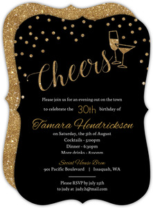 Faux Gold Glitter Cheers Glitter Birthday Invitation
