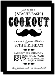 Black and White Stache Bash BBQ Invite