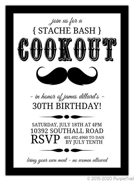 Black and white stache bash bbq invite 30th birthday invitations black and white stache bash bbq invite filmwisefo