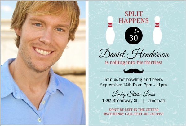 Blue Adult Bowling 30Th Birthday Invitation