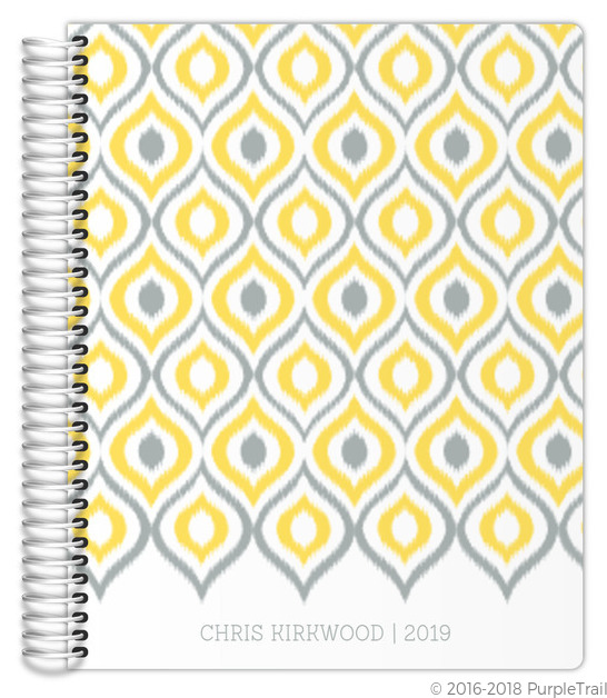 Yellow and Gray Ikat Planner