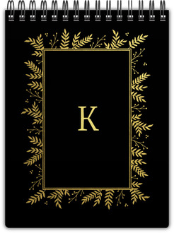 Gold Foliage Framed Initial Notebook