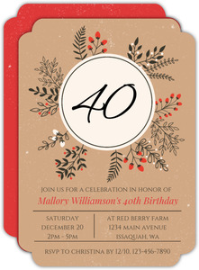 Winter Leaves and Berries Wreath Birthday Invitation