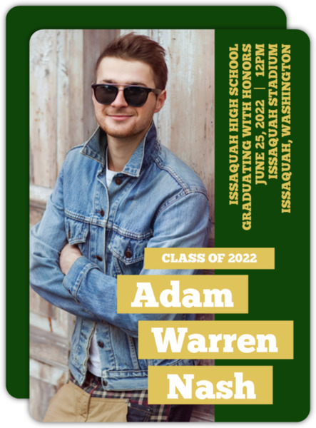 Purple and Yellow Issaquah HS Graduation Announcement