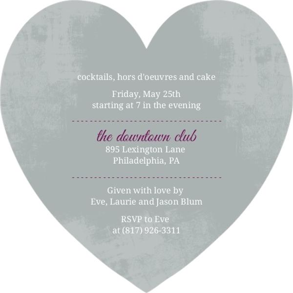 Gray And Purple Heart 30th Birthday Invitation