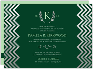 Silver Foil & Green Chevron Skyline HS Graduation Invitation