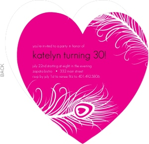 Hot Pink And Feather 30Th Birthday Invitation