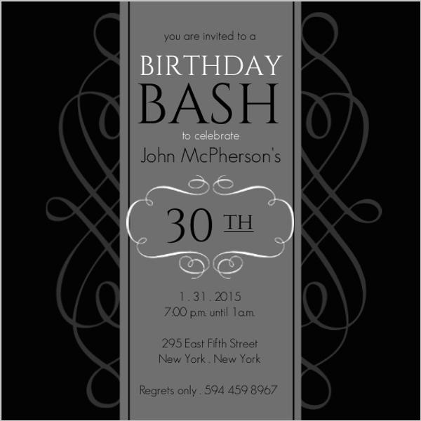 Black and grey formal soiree 30th birthday invite 30th birthday black and grey formal soiree 30th birthday invite filmwisefo