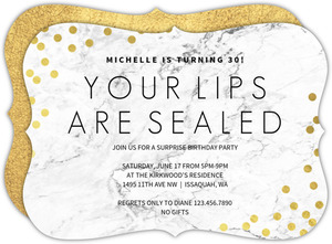 Lips Sealed Surprise 30th Birthday invitation