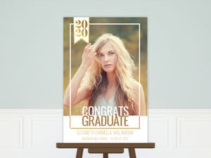 Modern Faux Glitter & Photo Graduation Poster