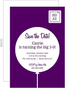 Purple Balloon Postcard 30Th Birthday Invitation