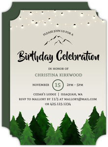 Rustic Outdoor Trees and Lights Birthday Invitation
