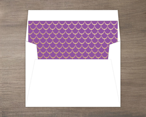 Purple Mermaid Princess Birthday Envelope Liner