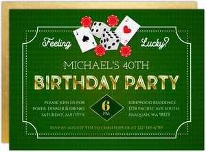 Faux Gold Feeling Lucky Poker Birthday Invitation