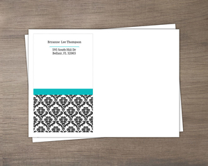 Turquoise And Black Damask Envelope