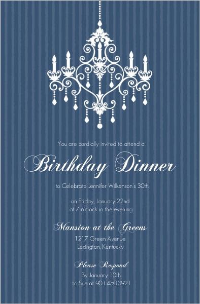 Elegant chandelier blue birthday party invitation 30th birthday elegant chandelier blue birthday party invitation filmwisefo