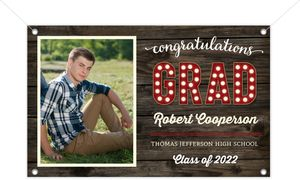 Rustic Dark Woodgrain Printable Graduation Banner