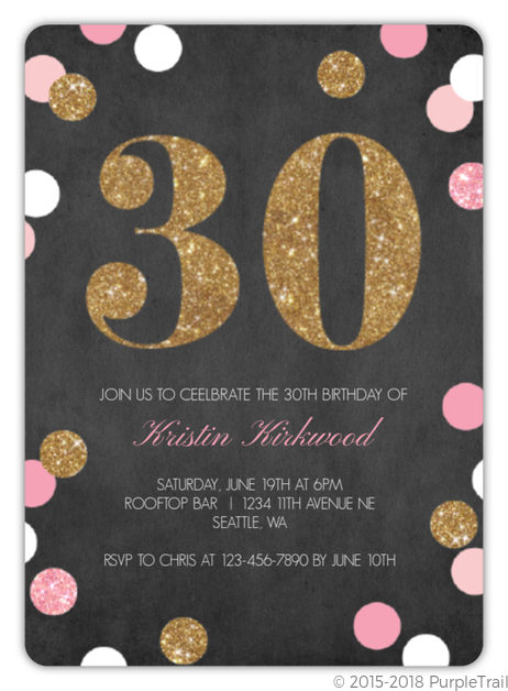 Sparkling Pink And Gold 30th Birthday Invitation
