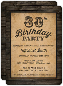 Vintage Woodgrain 30th Birthday Invitation