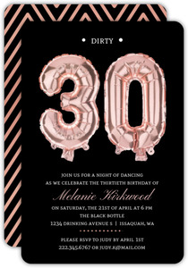Faux Rose Gold Balloon 30th Birthday Invitation