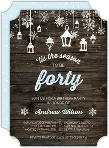 Rustic Snowflake Lantern Birthday Invitation