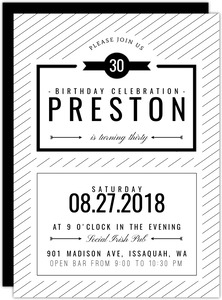 Modern Black & White 30th Birthday Party Invitation