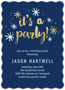 Navy and Gold Confetti Online Birthday Invitation