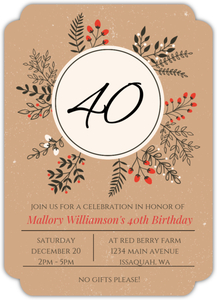 Winter Leaves and Berries Wreath Online Birthday Invitation