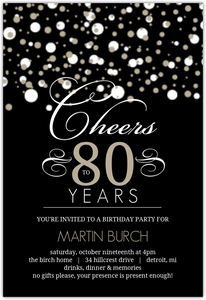 Black and Taupe Elegant Confetti Online Birthday Invitation