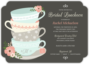 Charming Tea Cups Online Bridal Shower Invitation