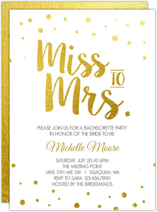 Miss To Mrs Faux Foil Printable Bachelorette Invitation